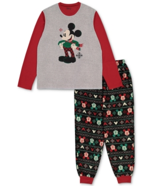 Briefly Stated Matching Men's Holiday Mickey & Minnie Family Pajama Set In Asst