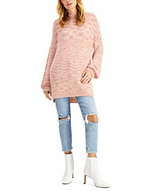 Balloon-Sleeve Tunic Sweater