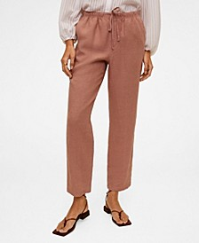 Women's Straight Linen-Blend Pants