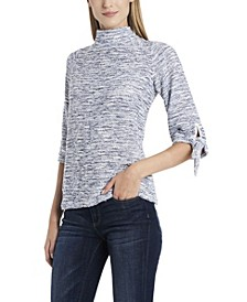 Women's Elbow Sleeve Tie Cuff Pullover