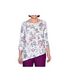 Women's Misses Shadow Floral Knit Top