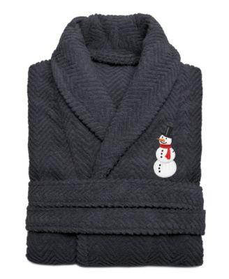 Snowman Herringbone Weave Embroidered Bathrobe