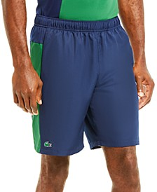 Men's SPORT Mesh-Lined Colorblock Tennis Shorts with Side Stripes