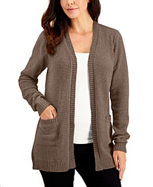 Petite Chenille Pocket-Front Cardigan Sweater, Created for Macy's