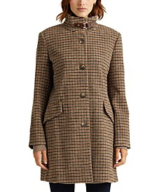 Houndstooth Wool-Blend Coat, Created For Macy's