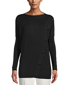 Asymmetrical-Button Pullover Sweater