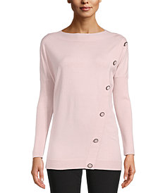 Anne Klein Asymmetrical-Button Pullover Sweater