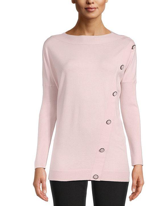 Anne Klein Asymmetrical-Button Pullover Sweater