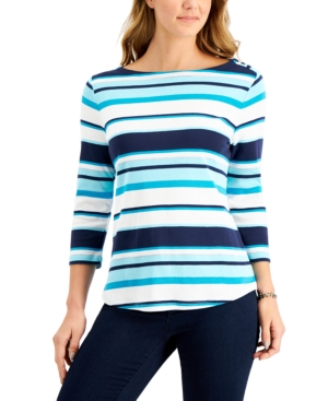 Charter Club Cottons PIMA COTTON BUTTON-SHOULDER STRIPE TOP, CREATED FOR MACY'S