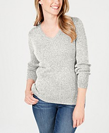 Petite Ribbed V-Neck Sweater, Created for Macy's