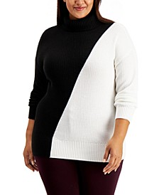 Plus Size Colorblock Turtleneck Sweater, Created for Macy's