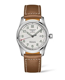 Men's Automatic Spirit Stainless Steel Chronometer Brown Leather Strap Watch 42mm