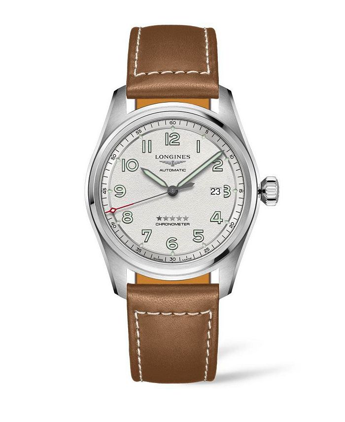 Longines - Men's Automatic Spirit Stainless Steel Chronometer Brown Leather Strap Watch 42mm