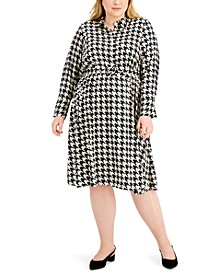 Plus Size Houndstooth-Print Midi Dress, Created for Macy's