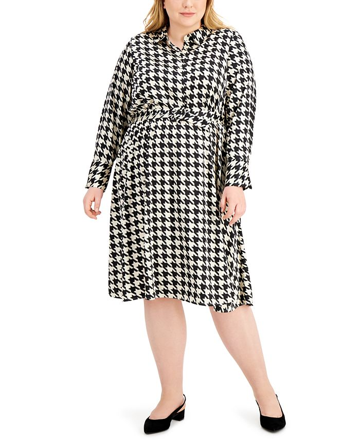 Alfani - Plus Size Houndstooth-Print Midi Dress
