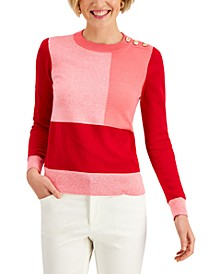 Colorblocked Button-Detail Sweater, Created for Macy's