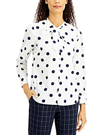Tie-Neck Polka Dot Top, Created for Macy's