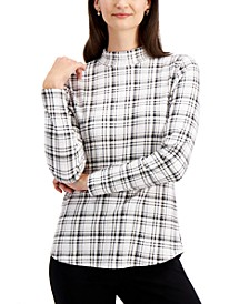 Cotton Plaid Mock-Neck Top, Created for Macy's