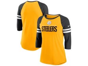 Nike Pittsburgh Steelers Women's Three-Quarter Sleeve Raglan Shirt