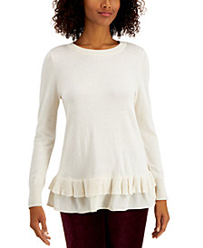 Style & Co Ruffle-Hem Sweater, Created for Macy's