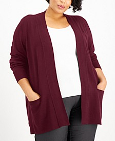 Plus Size Ribbed Open-Front Cardigan, Created for Macy's