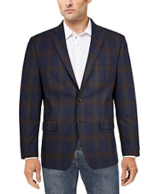 Men's Classic-Fit Ultraflex Stretch Blue/Brown Plaid Sport Coat