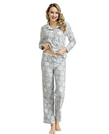Women's Notch Pajama Top with the Lounge Pant Set