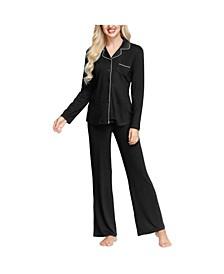 Women's Notch Collar Pajama Top and Pant Set