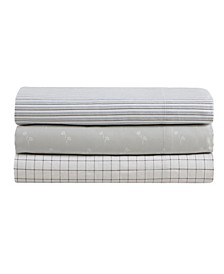 Twill Grid Cotton Sateen Full Sheet Set