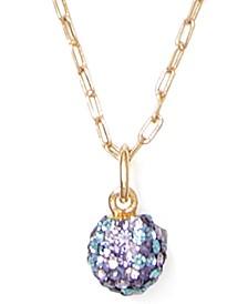 """Gold-Tone Pavé Fireball Mini Pendant Necklace, 17"""" + 3"""" extender"""