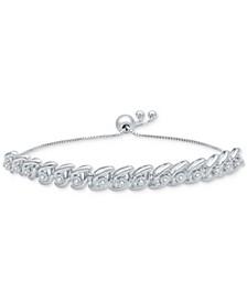 Diamond Wave Bolo Bracelet (1/6 ct. t.w.) in Sterling Silver