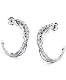 Silver-Tone Small Crystal Intertwined Open Hoop Earrings, 1""