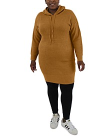 Trendy Plus Size Hooded Sweater Dress
