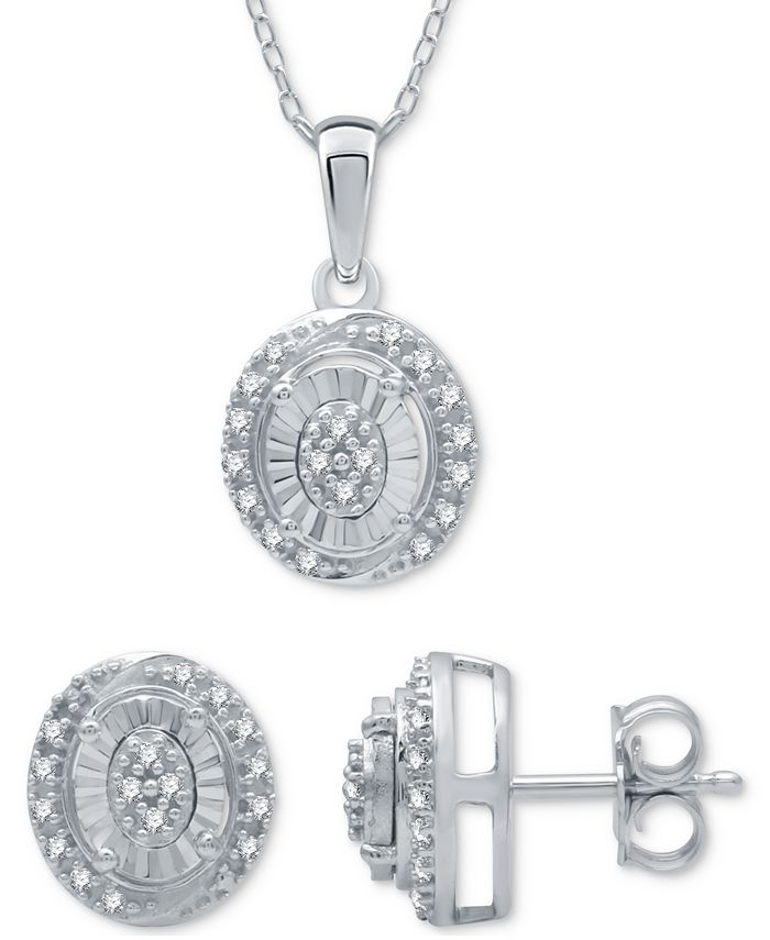 Macy's - 2-Pc. Set Diamond (1/6 ct. t.w.) Oval Cluster Pendant Necklace & Matching Stud Earrings in Sterling Silver