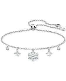 Silver-Tone Crystal Snowflake Slider Bracelet