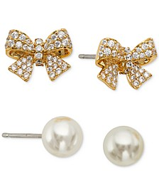 2-Pc. Set Pavé Bow & Imitation Pearl Stud Earrings, Created for Macy's