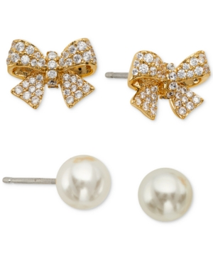 2-Pc. Set Pave Bow & Imitation Pearl Stud Earrings