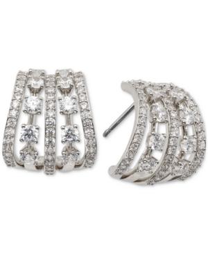 Small Cubic Zirconia Caged J-Hoop Earrings