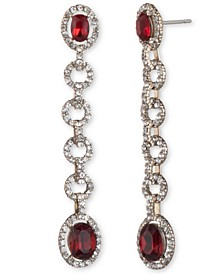 Stone & Crystal Halo Linear Drop Earrings