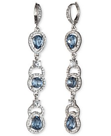 Silver-Tone Stone & Crystal Halo Linear Drop Earrings