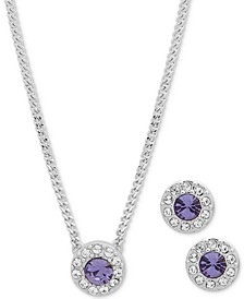 Stone & Crystal Halo Pendant Necklace & Stud Earrings Set