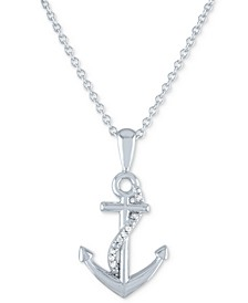 """Diamond Accent Anchor Pendant Necklace in Sterling Silver, 16"""" + 2"""" extender"""