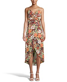 Floral-Print Twist-Front Midi Dress, Created for Macy's