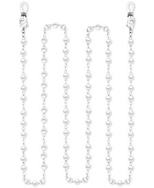 "Silver-Plated Imitation Pearl Dapped Link 25"" Glasses or Face Mask Chain"