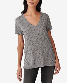 Dot-Print V-Neck T-Shirt
