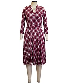 Plaid V-Neck Dress, Created for Macy's