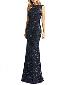 Sequin Draped-Back Dress