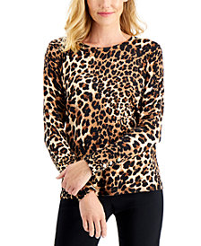 JM Collection Cheetah-Print Top, Created for Macy's