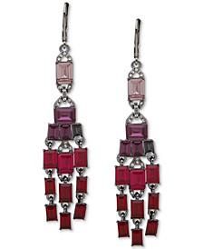 Hematite-Tone Pavé & Stone Chandelier Earrings