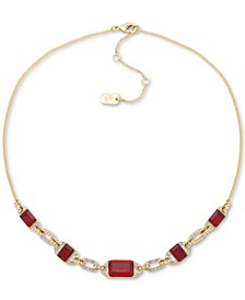 "Pavé & Stone Statement Necklace, 16"" + 3"" extender"
